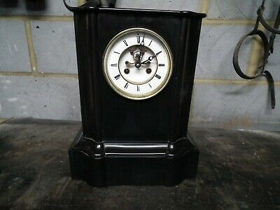Antique French 8 Day Slate/marble  Gong Striking Mantel Clock