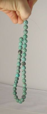 Antique Chinese Carved Turquoise Bead Necklace Spiderweb