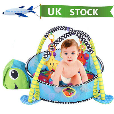 Turtle Baby Gym 3 in 1 Activity Play Mat Ball Pit & Toys Babies Floor Playmat UK