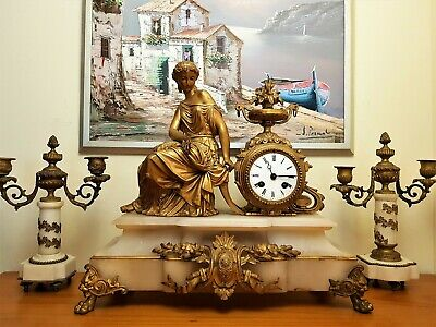 A Large Antique French Gilt & White Stone Figural Mantel Clock.