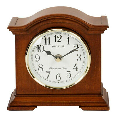 Rhythm Mahogany Wooden Finished Westminster Chime Arch Mantel Clock Arabic Dial