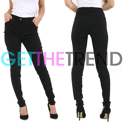 Girls High Waisted Black School Trousers Womens UK Stretch Skinny Fit Pants New