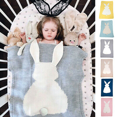 Baby Knit Wool Bunny Blanket Crocheted Sofa Beach Quilt Rug Bedding Throws Wrap