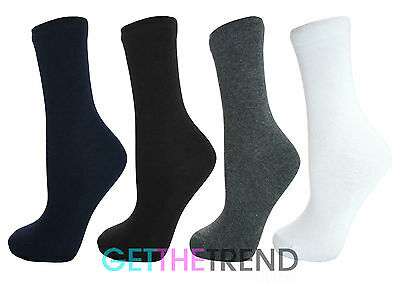 Plain School Socks Boys Girls Cotton Rich 6/12 Pack Grey Black White Navy Sock