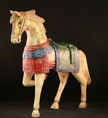 """Beautiful  Antique 12"""" Wooden Horse HAND CARVED in ECUADOR -Franciscan Mission"""