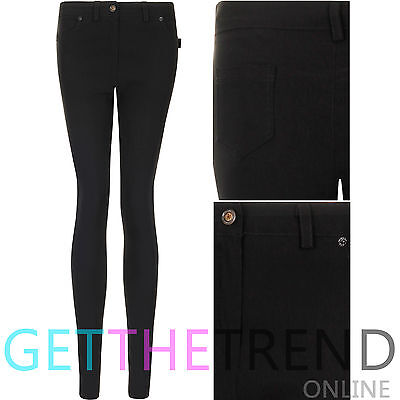 Womens Girls High Waisted Trousers School Black Stretch Super Skinny Elastic Fit