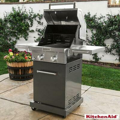 KitchenAid 2 Burner Stainless Steel Gas Barbecue + Cover 720-0891G