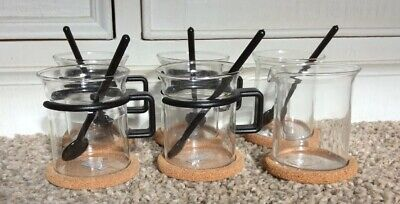 Vintage Bodum Bistro Coffee Set Cups Cork Rests Spoons Milk Jug Spoons Campervan