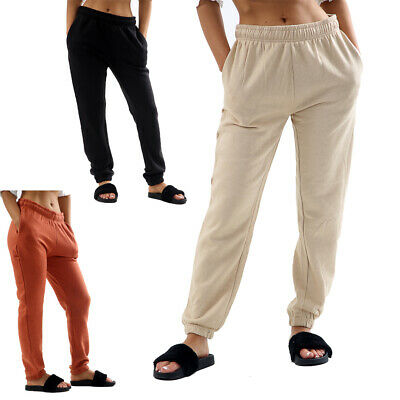 Womens Basic Sweat Joggers Ladies Fleece Lined Brushed Sweatpants Trousers New