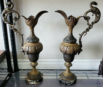 Circa 1880 French Gilt Spelter Gryphon Handle Baluster Ewers on Marble Bases