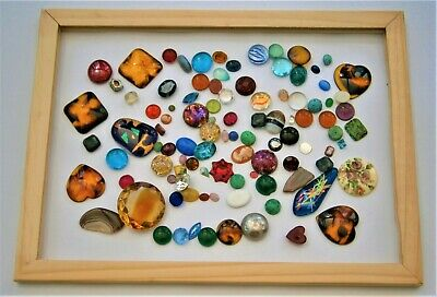 J71) Large job lot vintage glass & acrylic agate cabochons for jewellery crafts