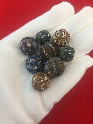 Set Of 8 Phoenician Mixed Round Beads Unusual Items Of Historical Jewellery.