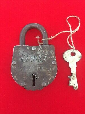 Antique Large Indian Padlock In Working Order With Removable Key & Patent Number