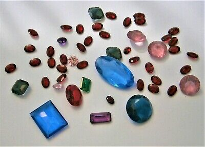 J72) Job lot vintage of cut glass & crystal gem stones for jewellery and crafts