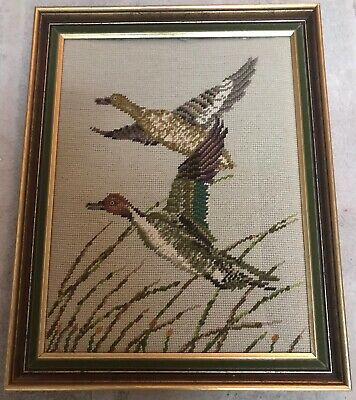 Framed Wool Tapestry Two Flying Ducks