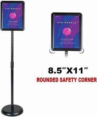 Heavy Duty Pedestal Poster Sign Stand Adjustable Aluminum Snap Open Frame 8.5x11