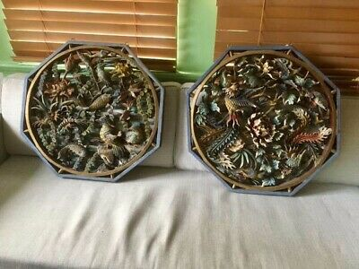 Chinese Octagonal Wood Wall Carving Vintage Asian Antique Art