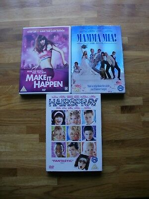 3 Dvd's Musicals Make It Happen, Mama Mia, Hairspray Exc.cond.price Reduction!!!