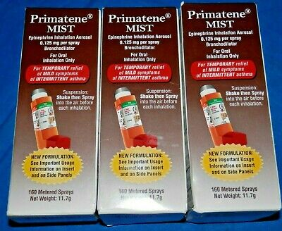 LOT OF 3 PRIMATENE 1 MIST ASTHMA RELIEF INHALER 160 METERED Exp 09/2020+ NEW