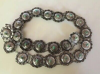 Antique Vintage Taxco Mexico Sterling Green Turquoise Concho Link Belt