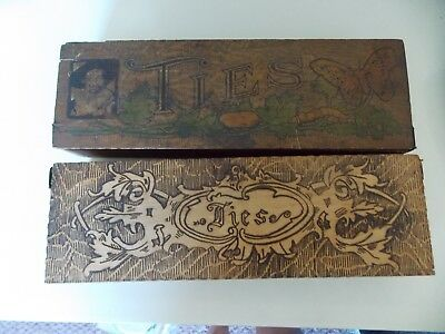 Lot of 2 Antique Wooden Tie Boxes  Hinged Lids Ornate Trim and Carved Details