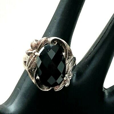 Vintage Sterling Silver Ring w/ Large Black Faceted Glass Center- Floral  Size 8