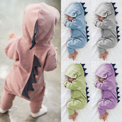 Newborn Boy Girls Dinosaur Hooded Romper Infant Baby Jumpsuit Clothes Outfits