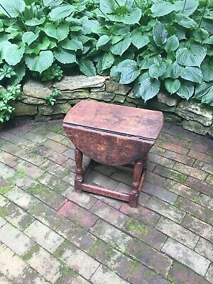 An Early English Oak Drop Leaf Side Table, Rare Size