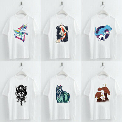 Harajuku Dogs Panda Animal Printed T-shirt Casual Crew Neck Loose Women Tops