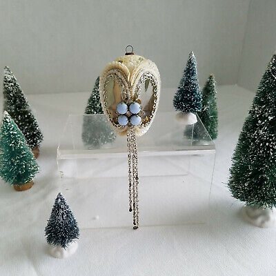 Unique Vintage Victorian Style H/Made Egg Shape Christmas Tree Ornament