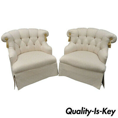 Pair of Napoleon III Tufted Slipper Lounge Chairs by Tomlinson Erwin-Lambeth