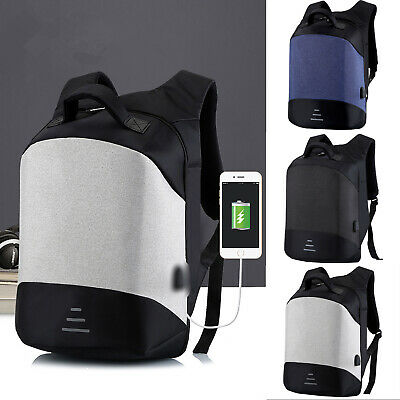 Anti-theft Mens Backpack Rucksack Laptop Travel School Bag With USB Charger Port