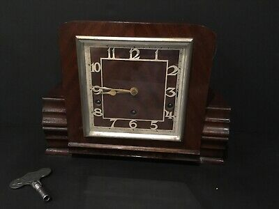 ART DECO MANTLE CLOCK GARRARD VINTAGE WOODEN 8 DAY PENDULUM For Repair With Key