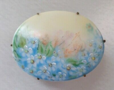 "Vintage, Victorian, Hand-painted Fine Porcelain, Floral Oval ""C"" Clasp Brooch."