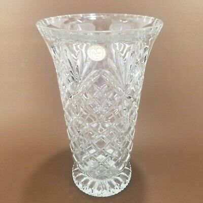 """Vintage Clear Cut 24% Lead Crystal Vase Made in Poland 9 3/4"""" Tall Thick & Heavy"""