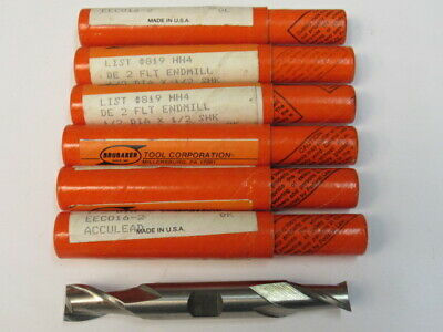 Lot Of 7 - New - 1/2 Two Flute Double End Cobalt End Mill - Brubaker  Usa