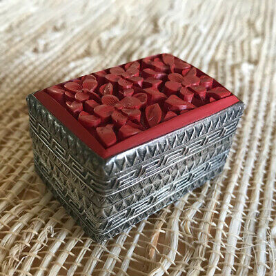 Vintage Chinese Silver and Hand Carved Cinnabar Trinket Pill Box