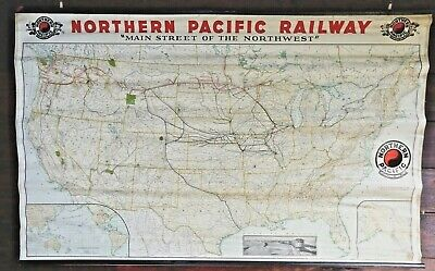 Rare 1936 Northern Pacific Railway Yellowstone Park Line Map 62X38 Poole Bros