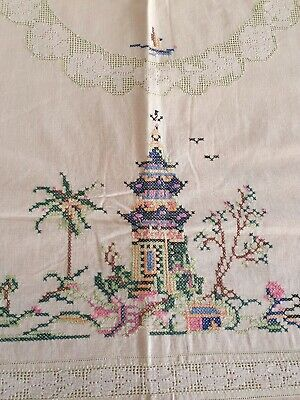 """Vintage Hand Embroidered Cross Stitch Tablecloth / Suppercloth """"Pagoda"""""""