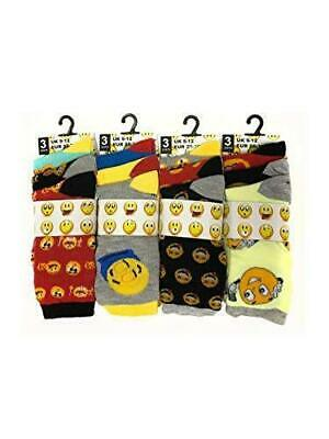 Kids Assorted Multi Emotion Character Faces Emoji Design Socks All Sizes Mix Lot