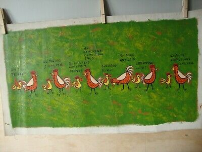 Vintage Original Taiwan Kitschy Oil Painting ~ Don't Be Chicken Get Laid ~ 1970s