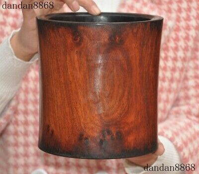 """7""""Old Chinese Huanghuali Wood Carved Dynasty Calligraphy Brush Pot Pencil Vase"""