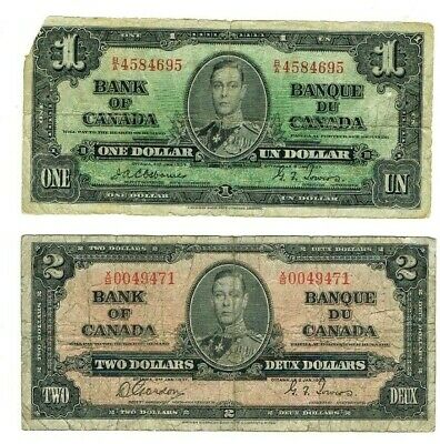 1937 $1 & $2 Bank Of Canada