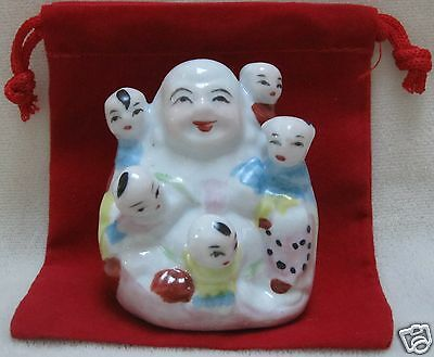 Feng Shui Laughing Buddha with Children for Fertility, Protection, Harmony