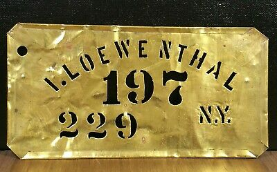 I. Loewenthal NY Antique Brass Apple Box Crate Stencil Vintage Sign Advertising