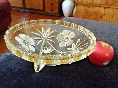Vintage Art Deco Etched & Gold Colour Glass Large Footed Bowl. 1930'S To 1950'S.