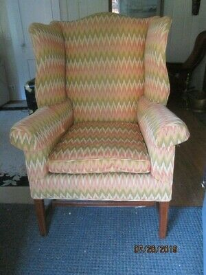 Antique Hepplewhite mid 19th century wing chair reupholstered local pickup 06759