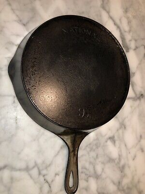 Antique Wagner National No.9 Cast Iron Skillet with Heat Ring/ Nickel/, Restored
