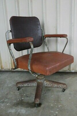Vintage Antique Industrial Desk Chair Swivel Dentist Doctor Wrought Iron