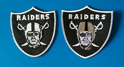 2 LOT OAKLAND RAIDERS  Embroidered Easy Iron On Sewn On Patches  Free Ship